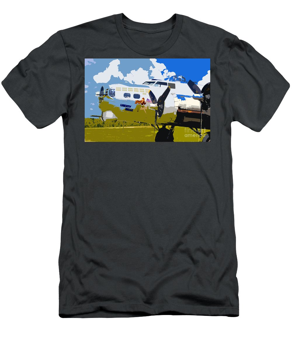 Flying Fortress Men's T-Shirt (Athletic Fit) featuring the photograph Liberty Belle by David Lee Thompson