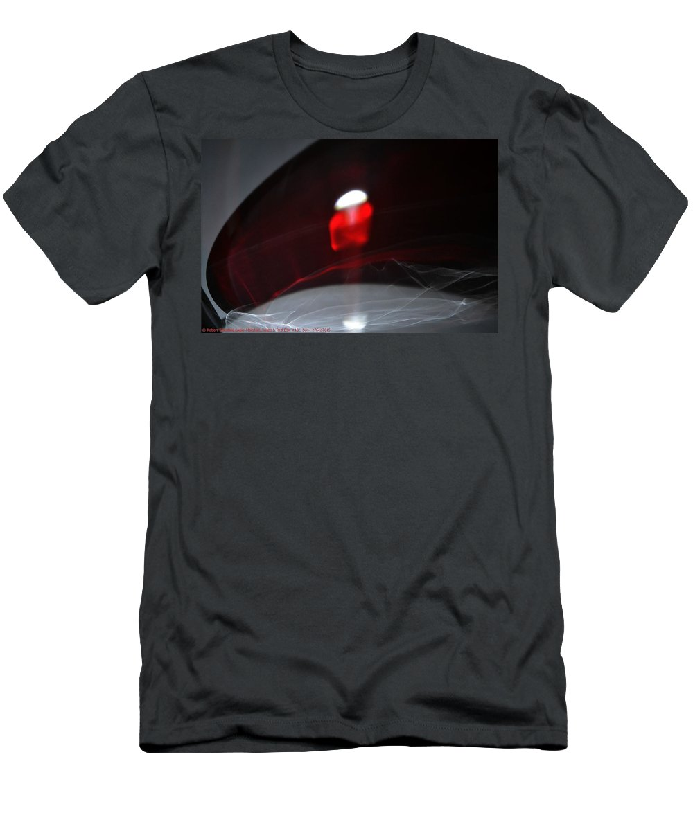 Red Men's T-Shirt (Athletic Fit) featuring the photograph ''light And Red Disc No.18'', Sun--27sep2015 by Robert 'Standing Eagle'
