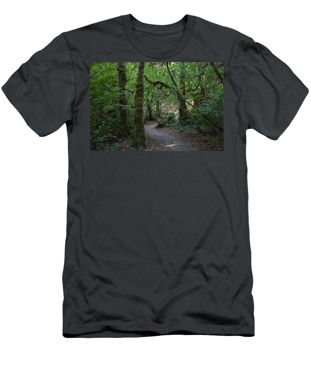 Trips Men's T-Shirt (Athletic Fit) featuring the photograph Light At The End Of The Path by Paul Kukuk