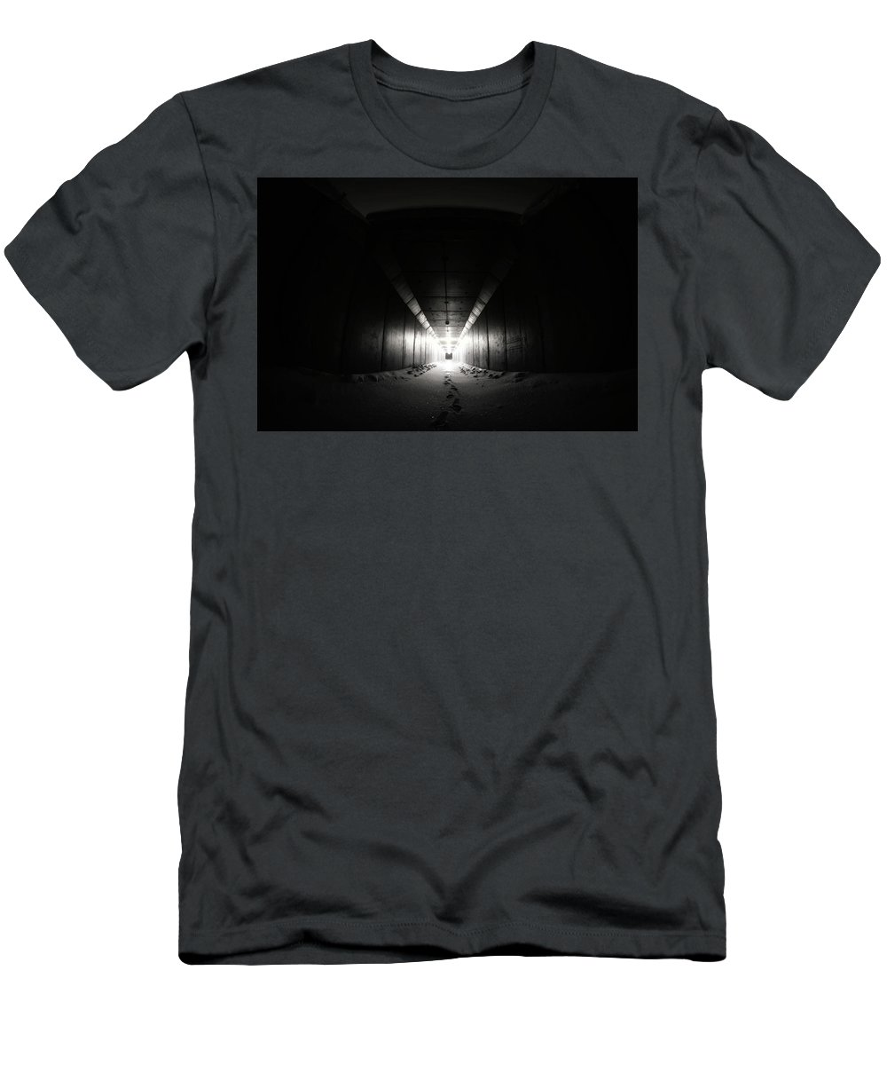 Black And White Men's T-Shirt (Athletic Fit) featuring the photograph Light At The End Of The Tunnel by Steve Halama