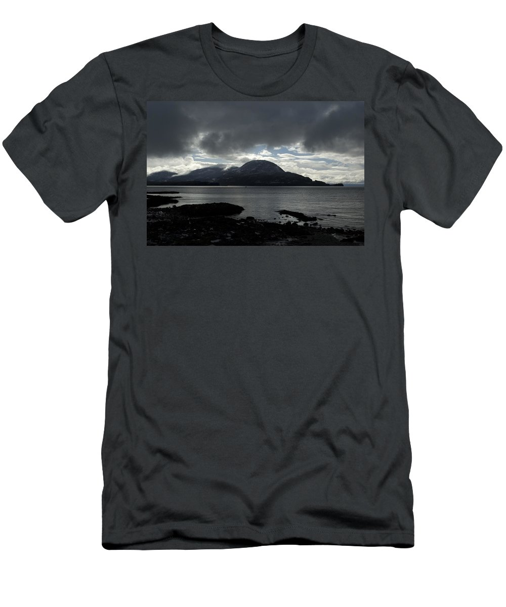Landscape Men's T-Shirt (Athletic Fit) featuring the photograph Light In Darkness by Sara Stevenson