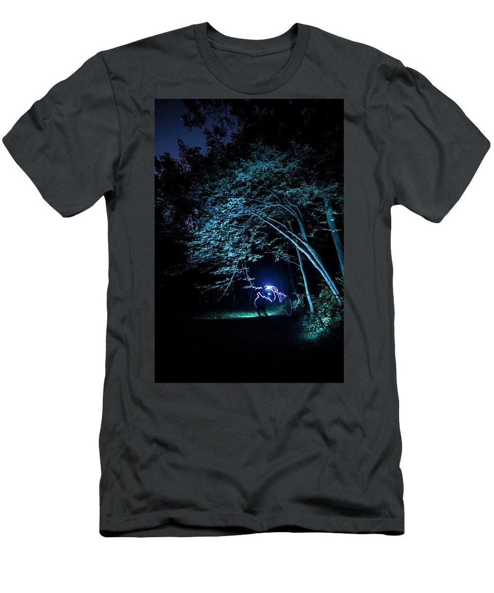 Light Painting Men's T-Shirt (Athletic Fit) featuring the photograph Light Painted Arched Tree by Sven Brogren