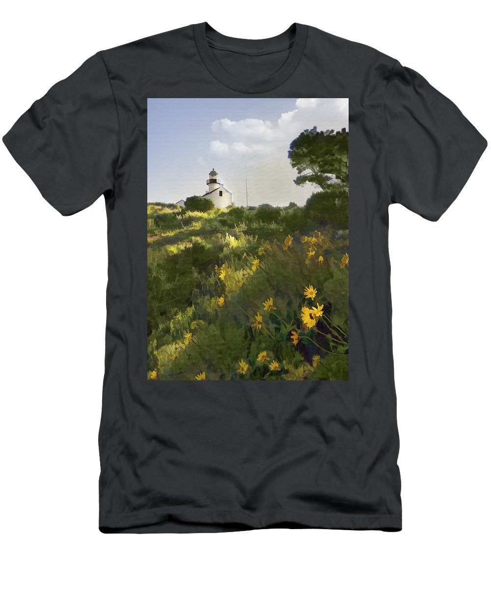 Lighthouse Men's T-Shirt (Athletic Fit) featuring the digital art Lighthouse Daisies by Sharon Foster