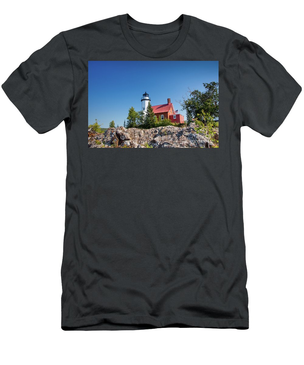 Lighthouse Men's T-Shirt (Athletic Fit) featuring the photograph Lighthouse Eagle Harbor Lake Superior -6533 by Norris Seward