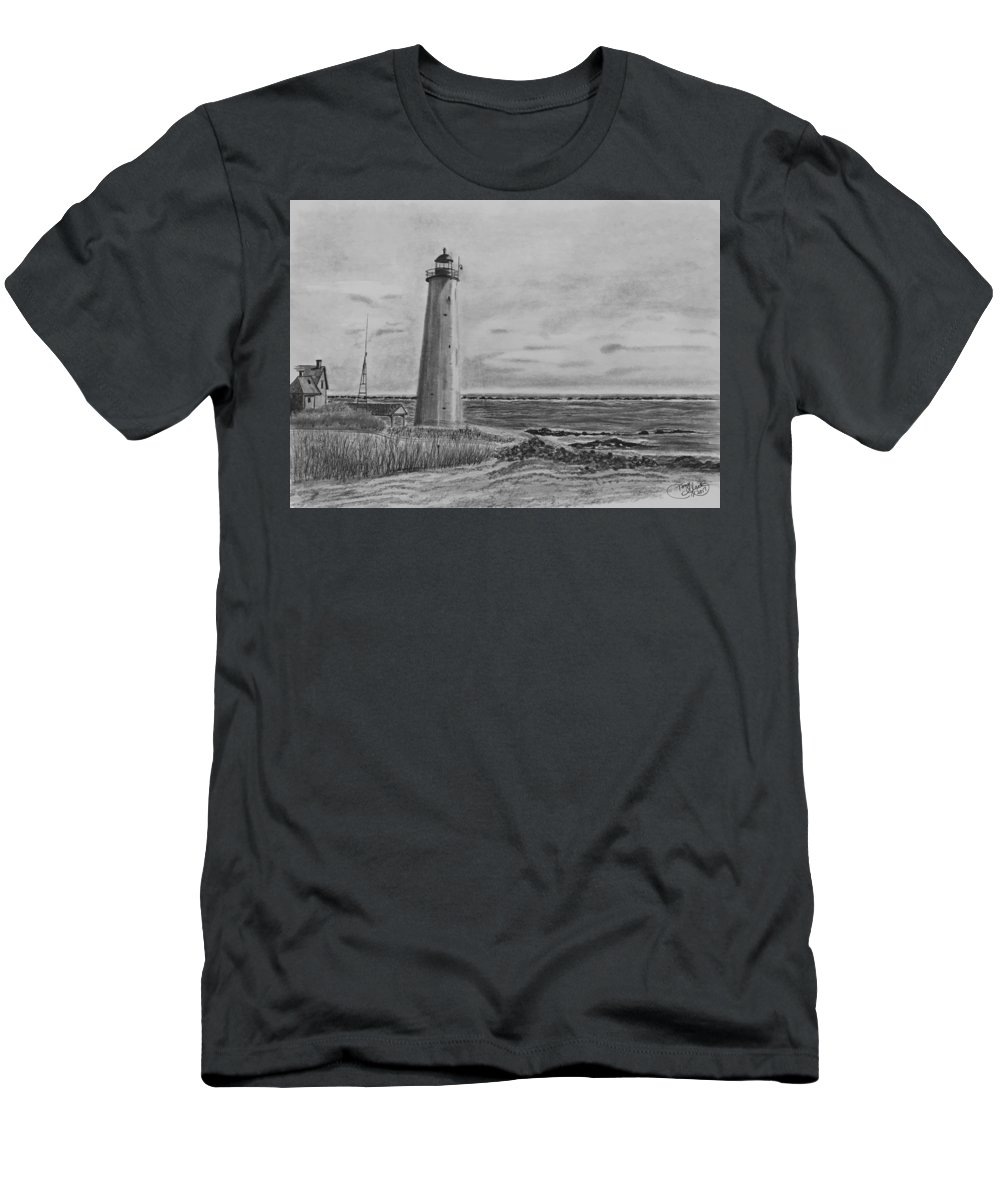 Landscape Men's T-Shirt (Athletic Fit) featuring the drawing Lighthouse Point by Tony Clark