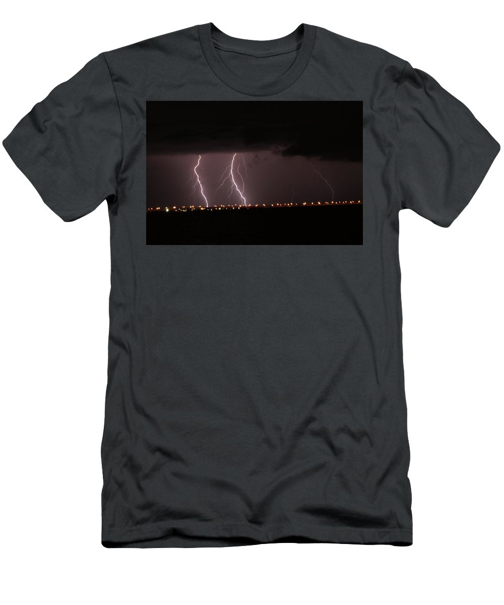 Lightning Men's T-Shirt (Athletic Fit) featuring the photograph Lighting Strikes by Claire Harlow