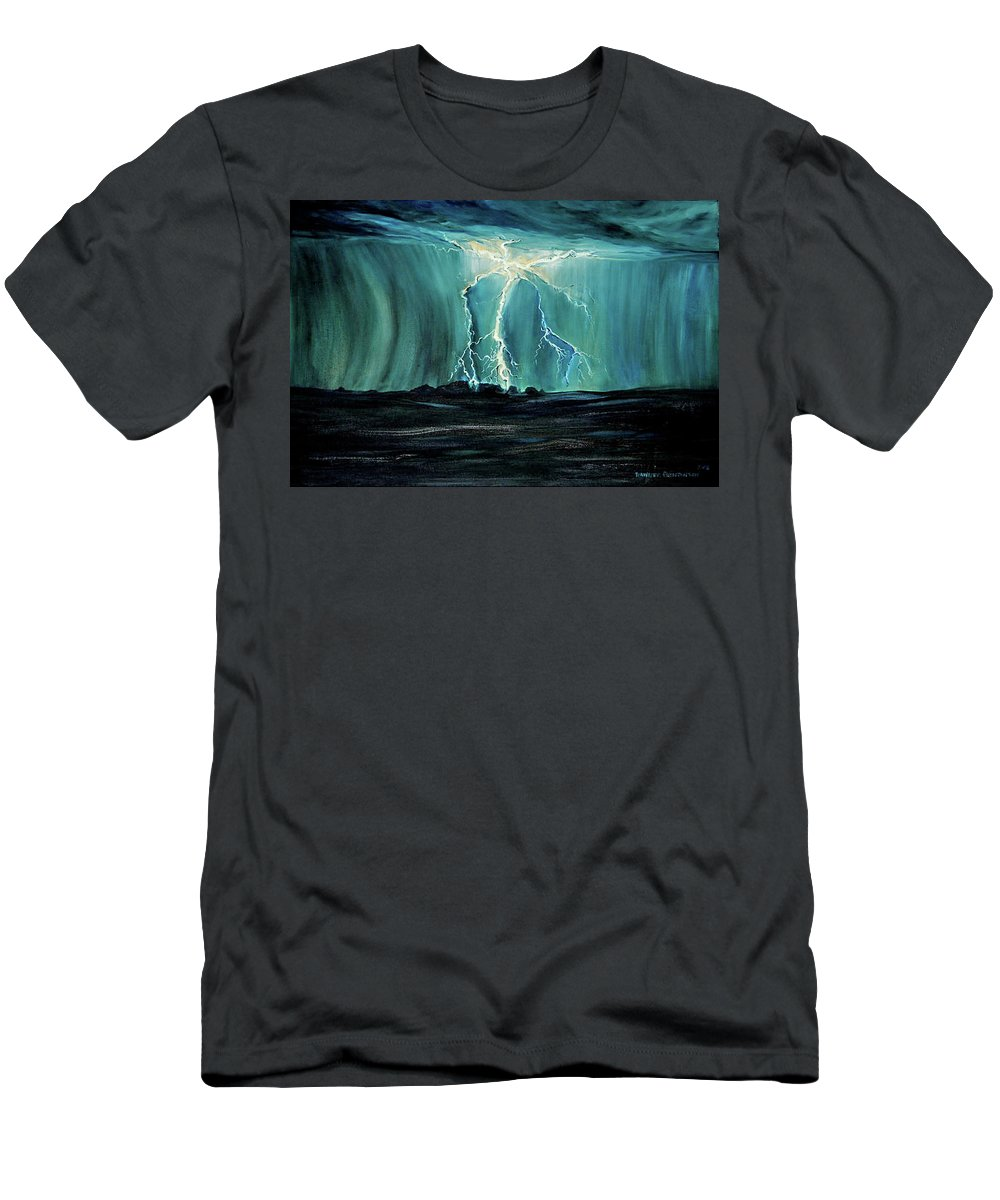 Lightning Men's T-Shirt (Athletic Fit) featuring the painting Lightning On The Prairie by Jennifer Christenson