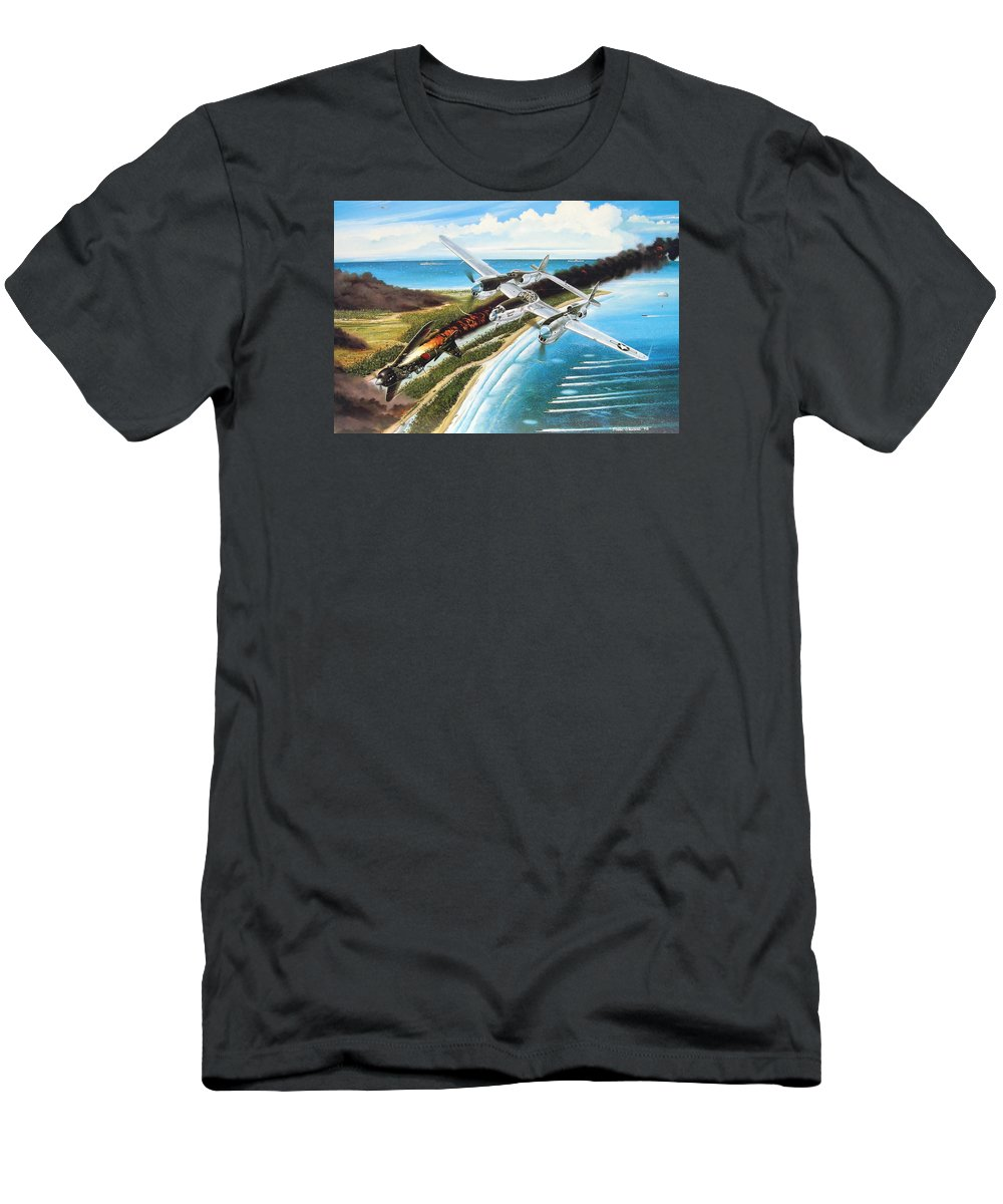 Aviation Men's T-Shirt (Athletic Fit) featuring the painting Lightning Over Mindoro by Marc Stewart