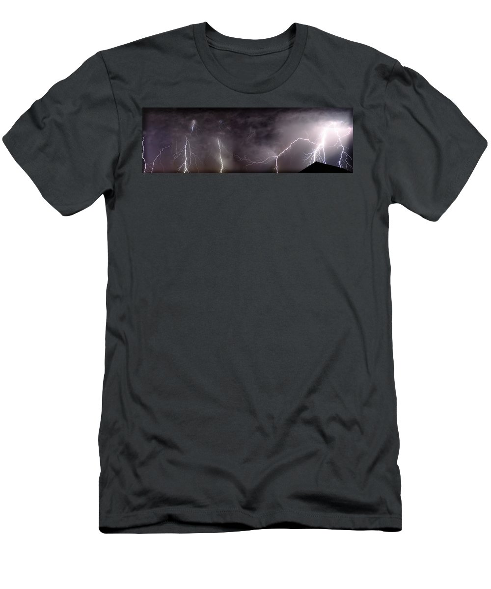 Lightning Men's T-Shirt (Athletic Fit) featuring the photograph Lightning Over Perris by Anthony Jones