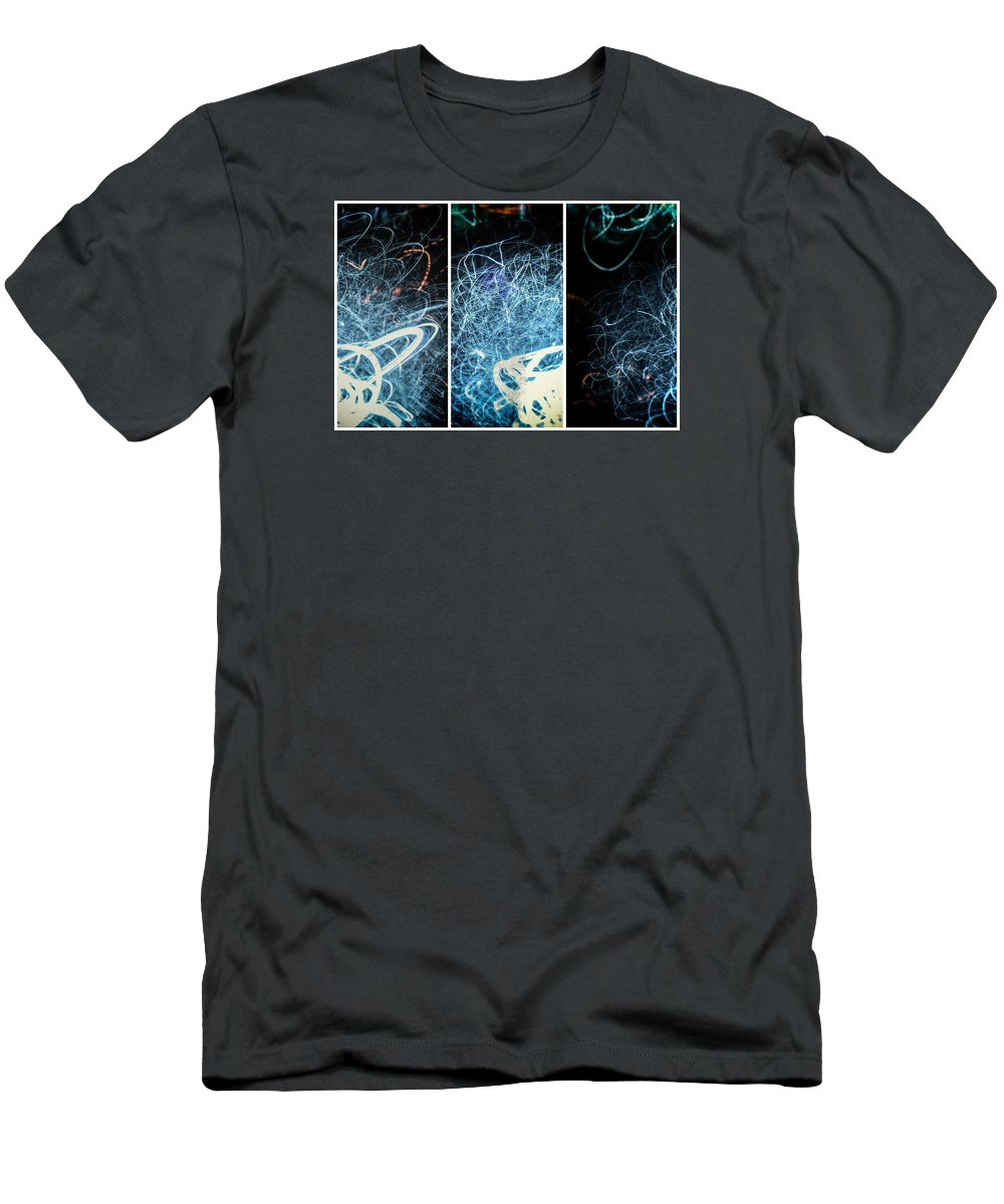 Triptych Men's T-Shirt (Athletic Fit) featuring the photograph Neon Pubic Fuzz by John Williams