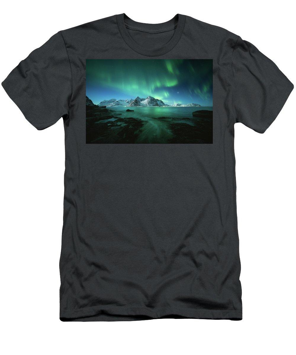 Landscape Men's T-Shirt (Athletic Fit) featuring the photograph Lights Above Lofoten by Tor-Ivar Naess