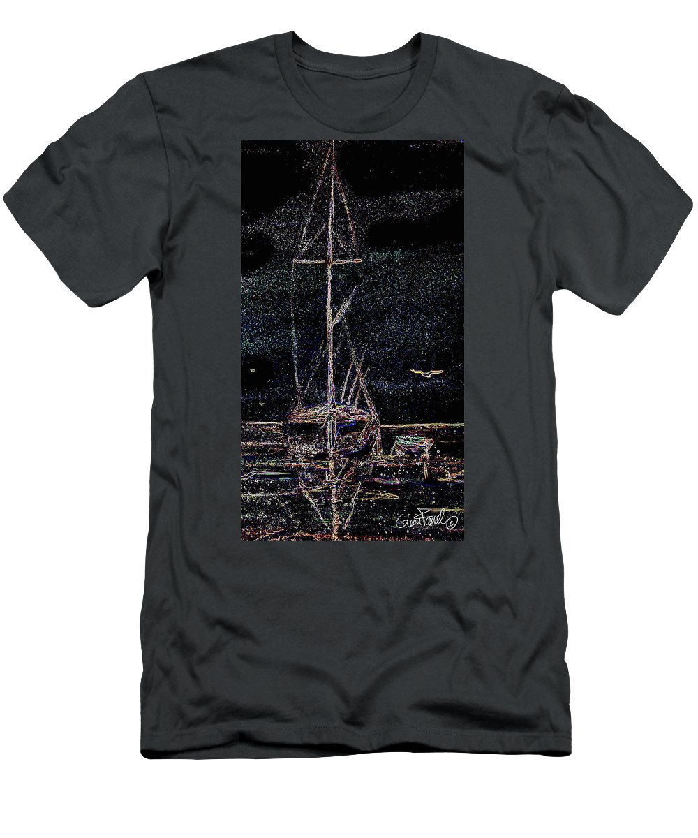 Night Men's T-Shirt (Athletic Fit) featuring the painting Lights By Night by Glenn Farrell