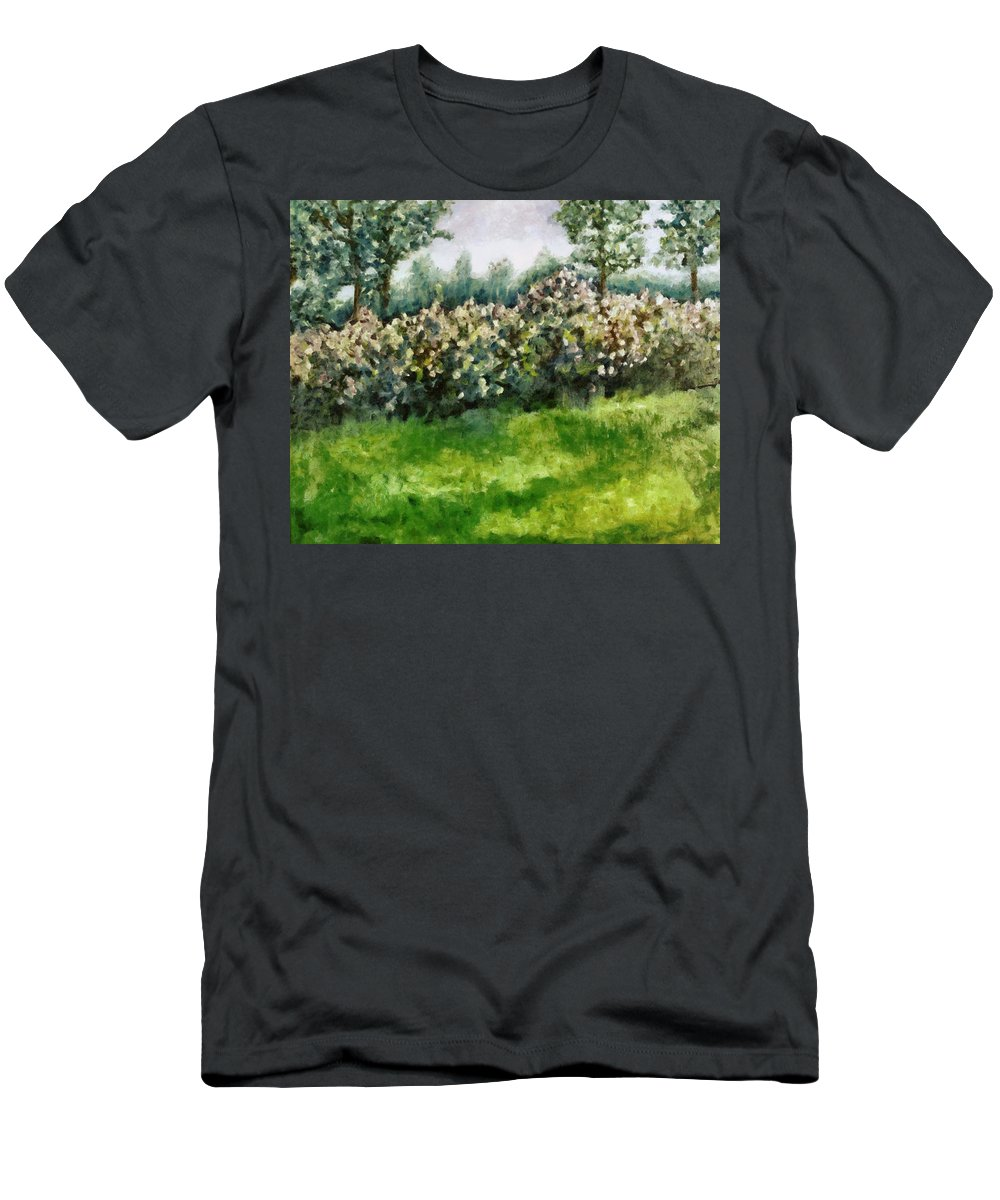 Spring Men's T-Shirt (Athletic Fit) featuring the painting Lilac Bushes In Springtime by Michelle Calkins
