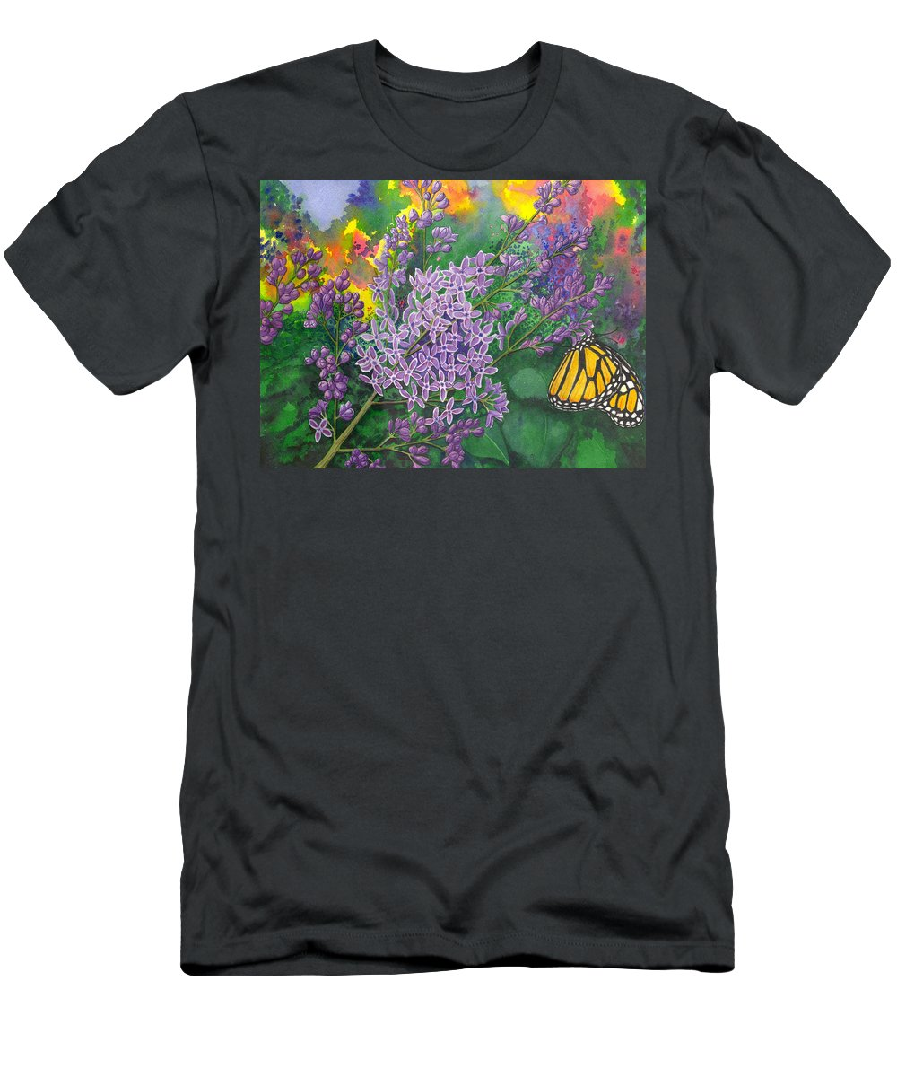 Lilac Men's T-Shirt (Athletic Fit) featuring the painting Lilac by Catherine G McElroy