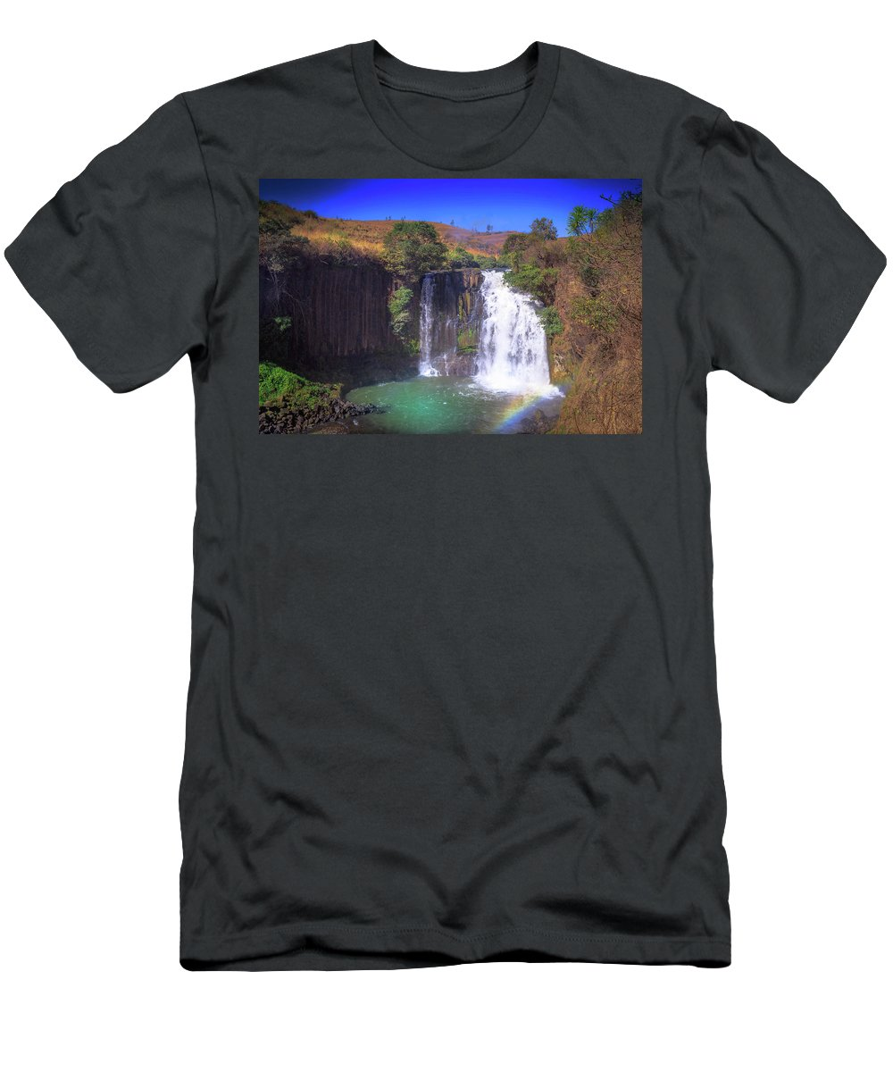 Chutes Lily Men's T-Shirt (Athletic Fit) featuring the photograph Lili Waterfall by Louloua Asgaraly
