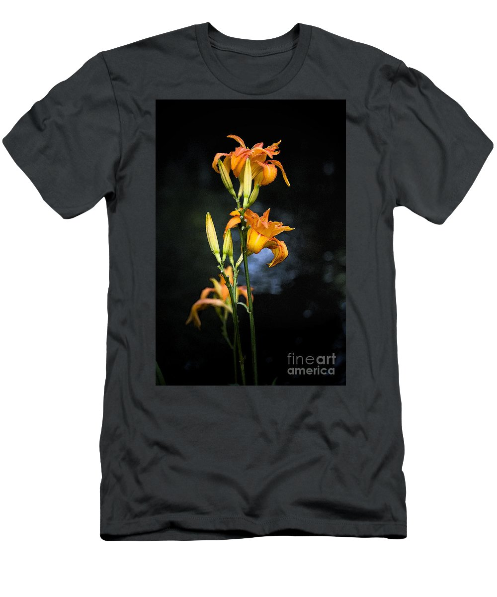 Lily Monet Garden Flora Men's T-Shirt (Athletic Fit) featuring the photograph Lily In Monets Garden by Sheila Smart Fine Art Photography