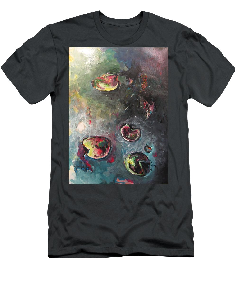 Abstract Painting Lily Pad Water Lake Blue Plant Paper Original Contemporary Canvas Men's T-Shirt (Athletic Fit) featuring the painting Lily Pads5 by Seon-Jeong Kim