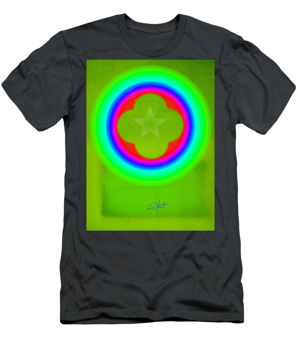 Abstract Men's T-Shirt (Athletic Fit) featuring the painting Lime by Charles Stuart