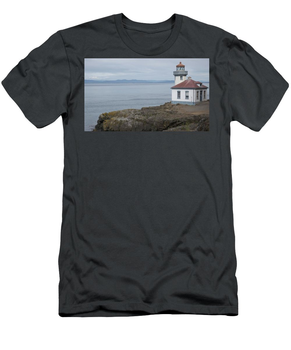 Lime Kiln Light Men's T-Shirt (Athletic Fit) featuring the photograph Lime Kiln Lighthouse Panorama by Dan Sproul