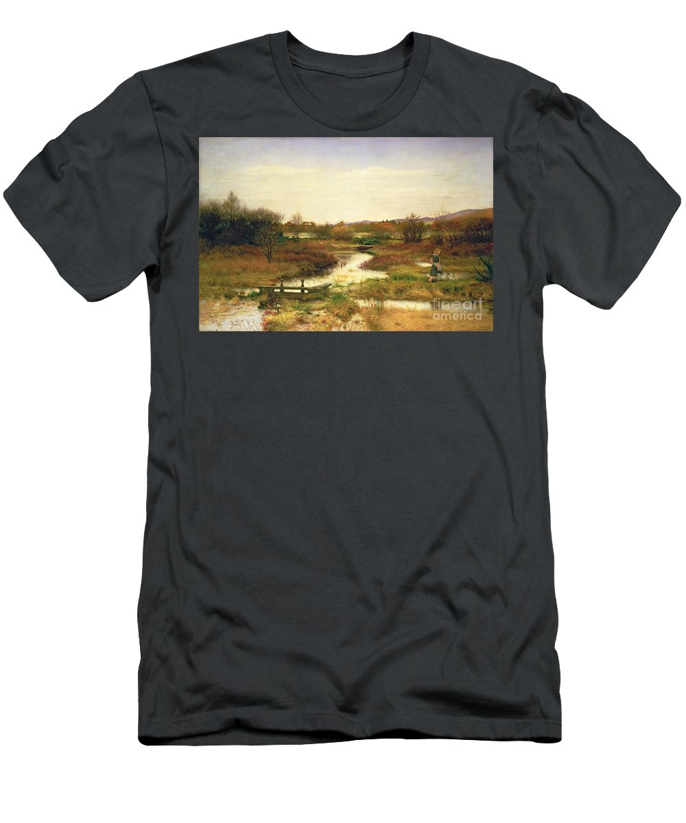 Lingering Autumn Men's T-Shirt (Athletic Fit) featuring the painting Lingering Autumn by Sir John Everett Millais