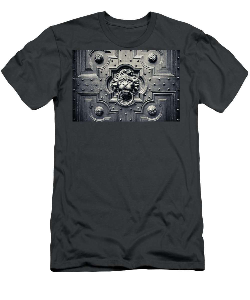 3scape Photos Men's T-Shirt (Athletic Fit) featuring the photograph Lion Head Door Knocker by Adam Romanowicz