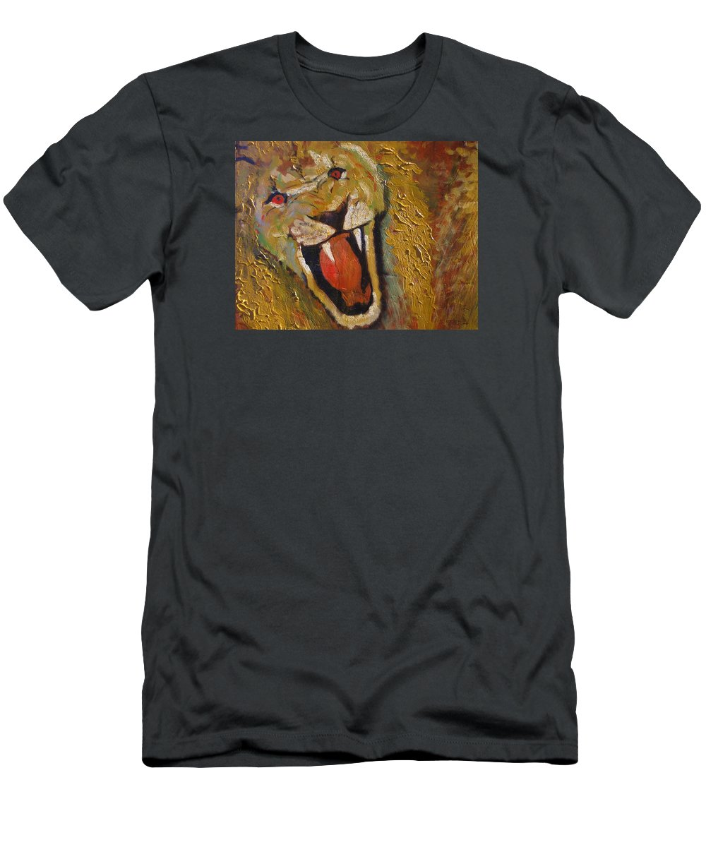 Lion T-Shirt featuring the painting Lion one by J Bauer