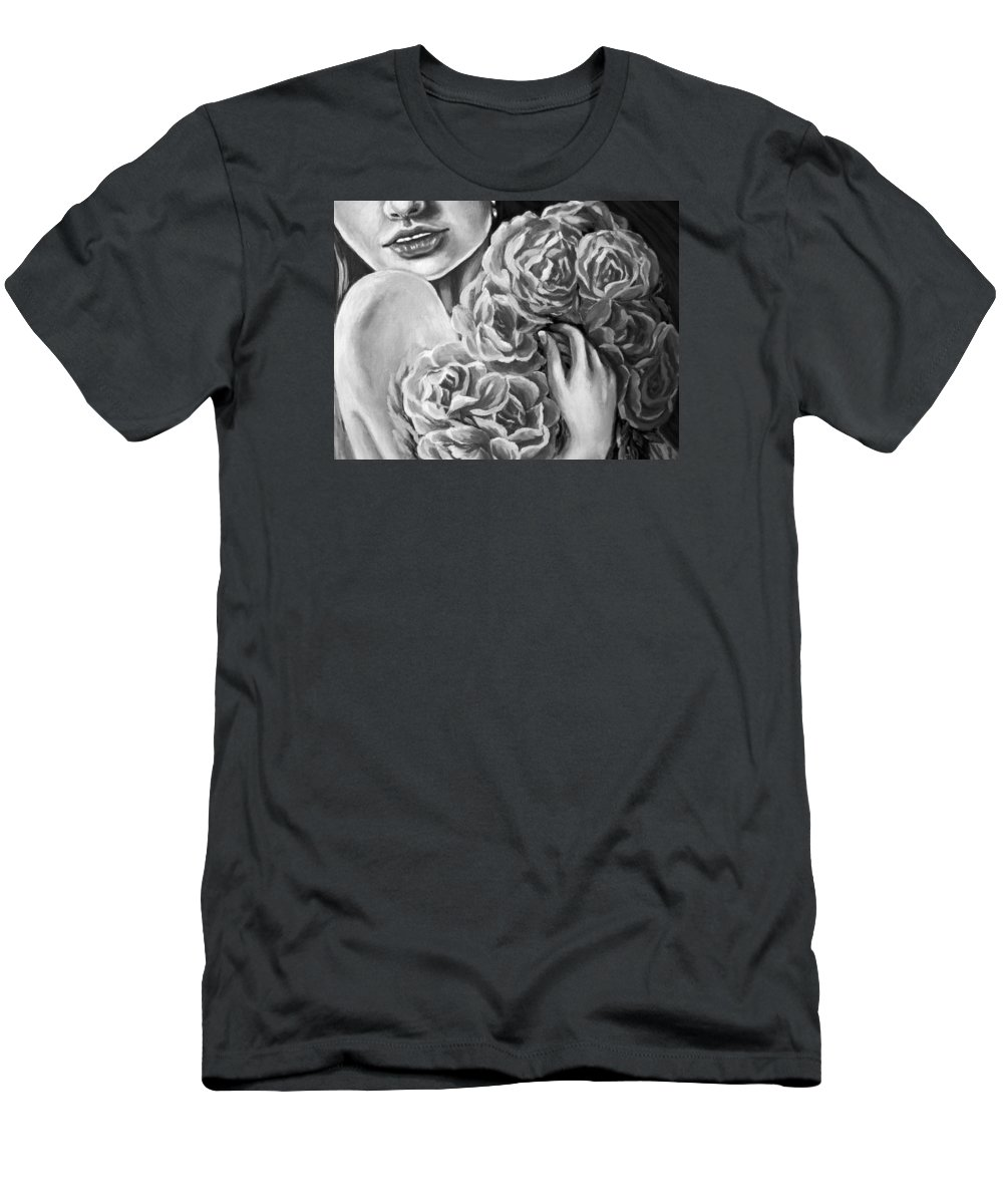 Amazing Print Men's T-Shirt (Athletic Fit) featuring the digital art Lips Of Love Black And White by Katreen Queen