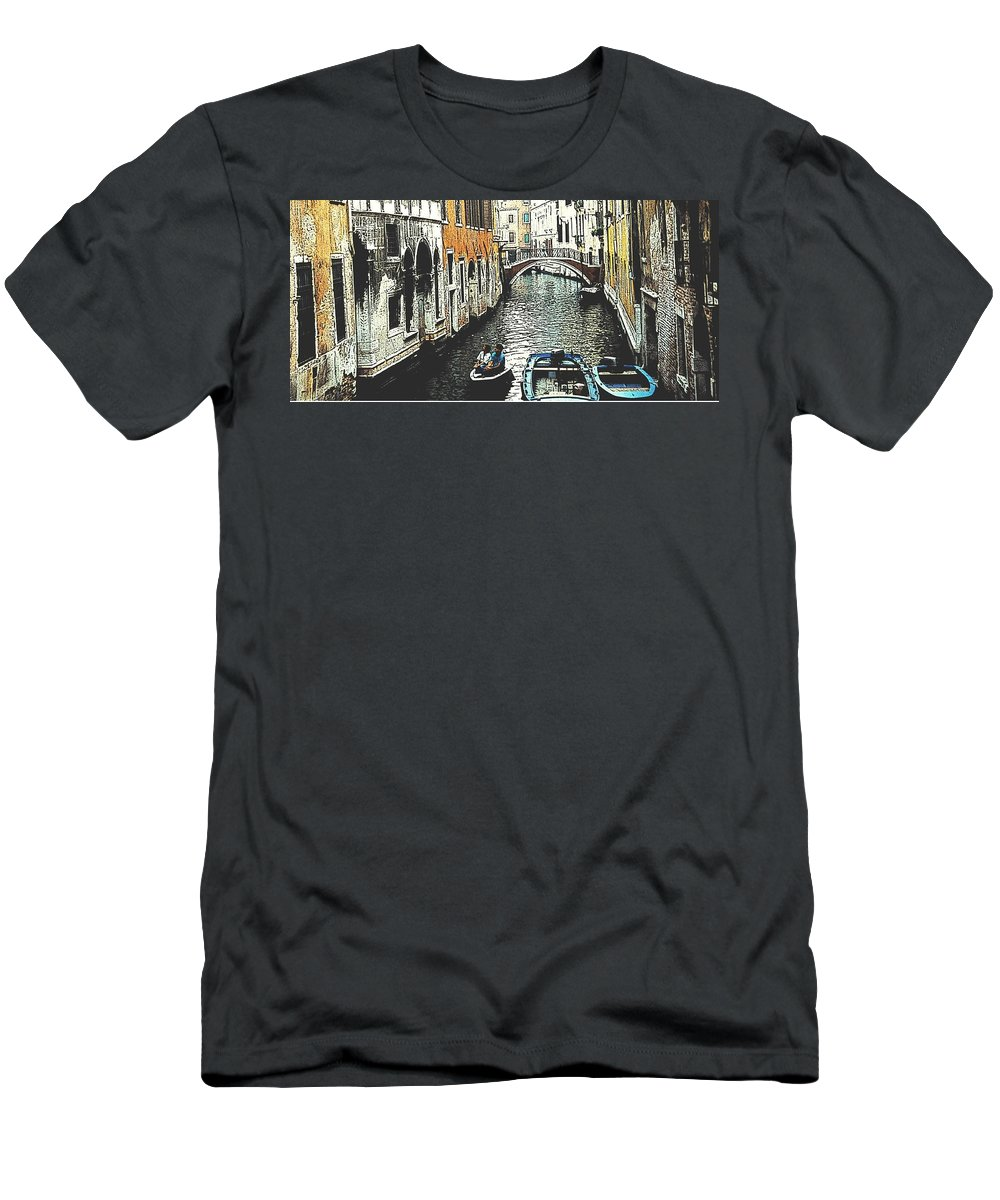 Venice Men's T-Shirt (Athletic Fit) featuring the photograph Little Boat In Venice by Ian MacDonald