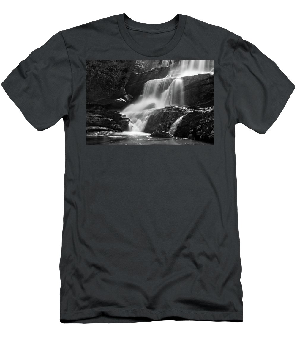 Waterfall Men's T-Shirt (Athletic Fit) featuring the photograph Little Bradley Falls #1 by Dan Farmer