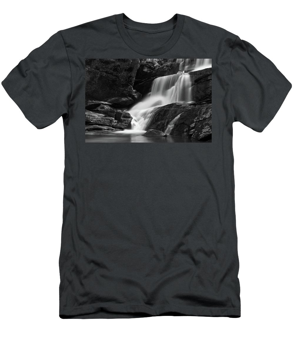 Waterfall Men's T-Shirt (Athletic Fit) featuring the photograph Little Bradley Falls #3 by Dan Farmer
