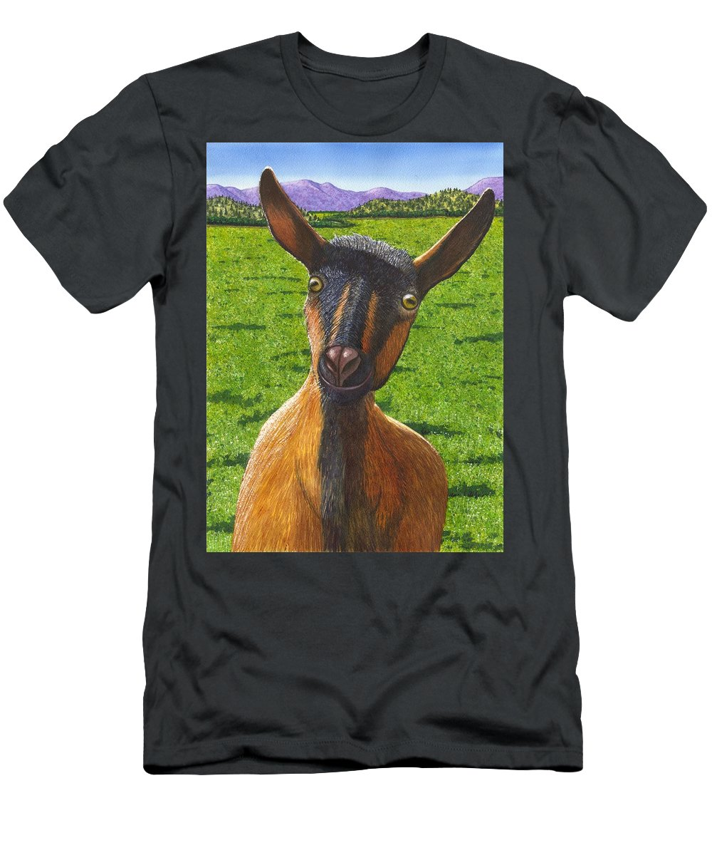 Goat Men's T-Shirt (Athletic Fit) featuring the painting Little Goat by Catherine G McElroy