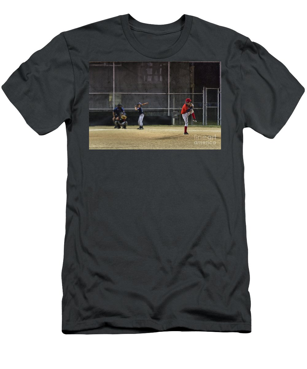 Americana Men's T-Shirt (Athletic Fit) featuring the photograph Little League Baseball by John Greim