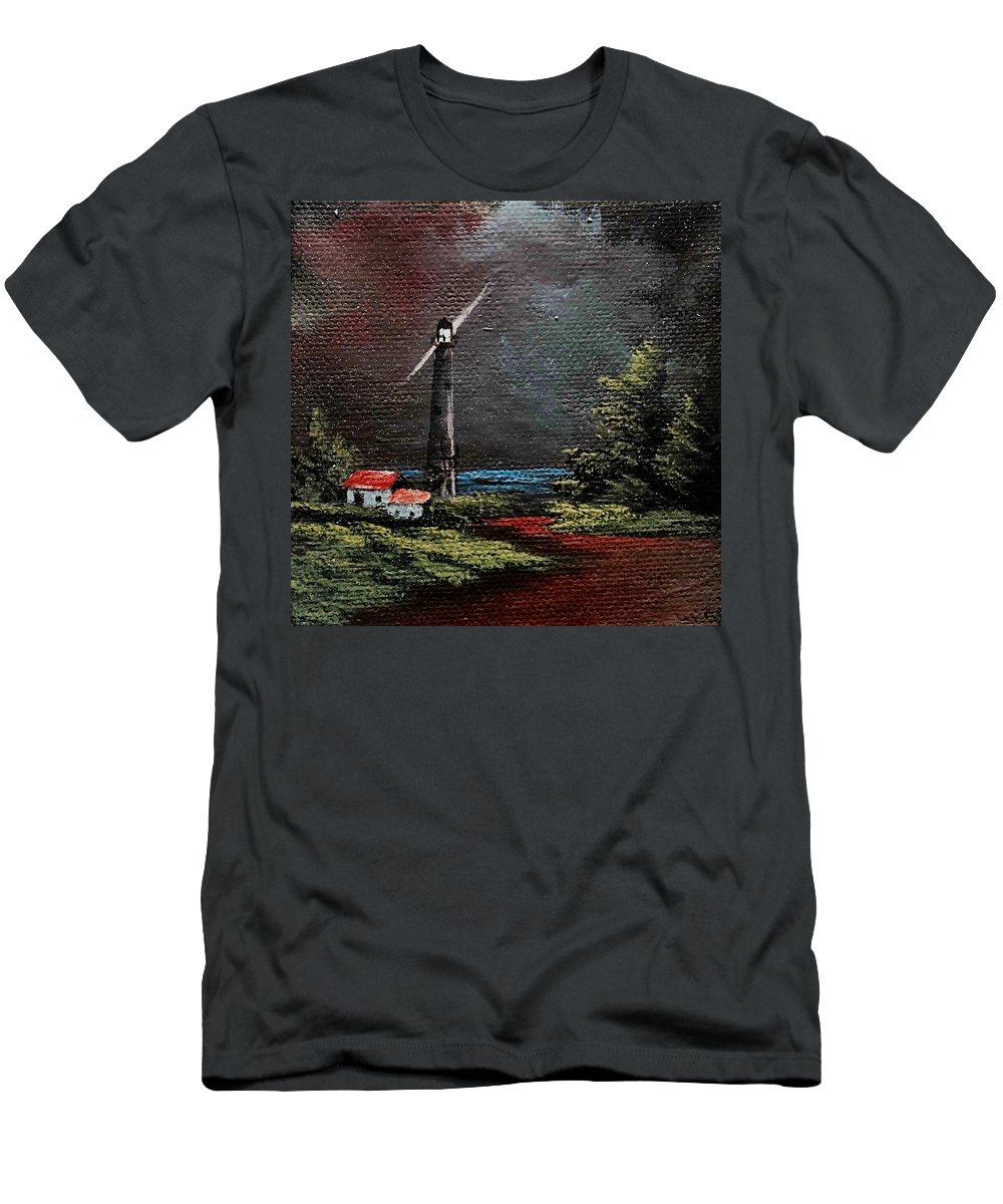 Lighthouse Men's T-Shirt (Athletic Fit) featuring the painting Little Light by Glen Mcclements