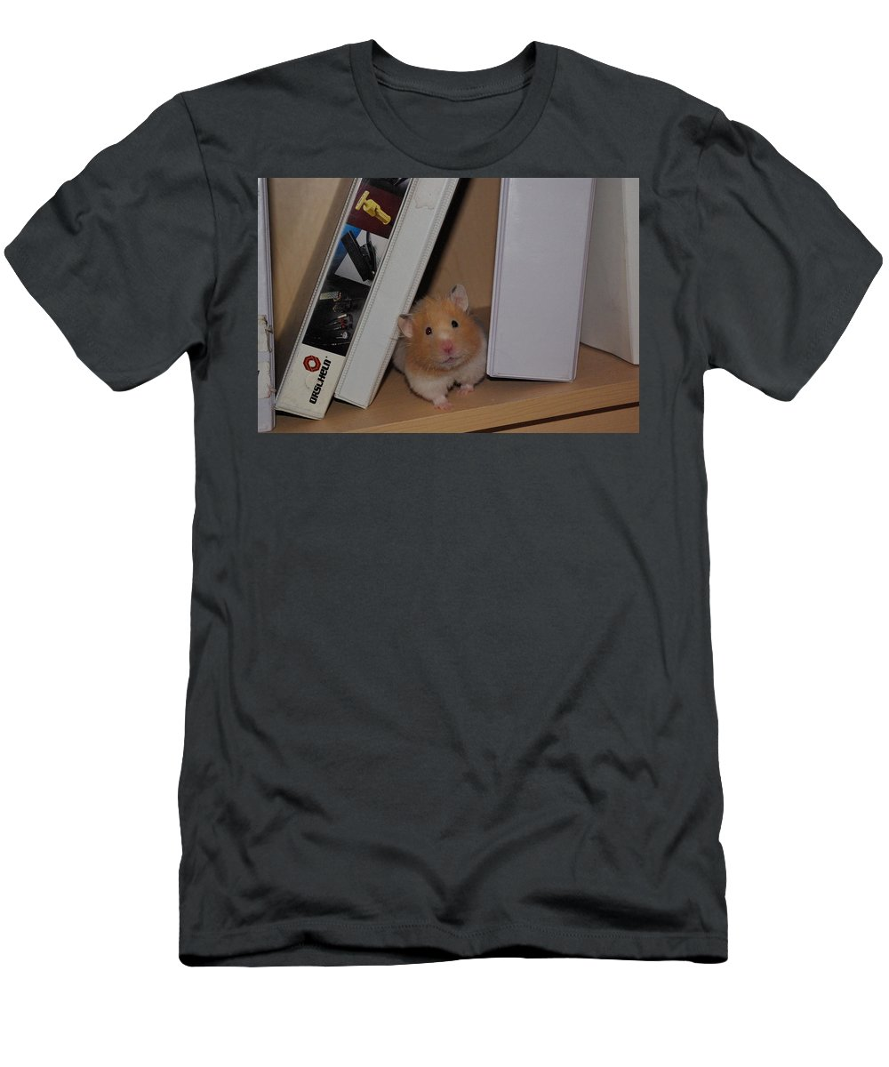 Hamster Men's T-Shirt (Athletic Fit) featuring the photograph Little Missy Is Watching by Cindy Johnston