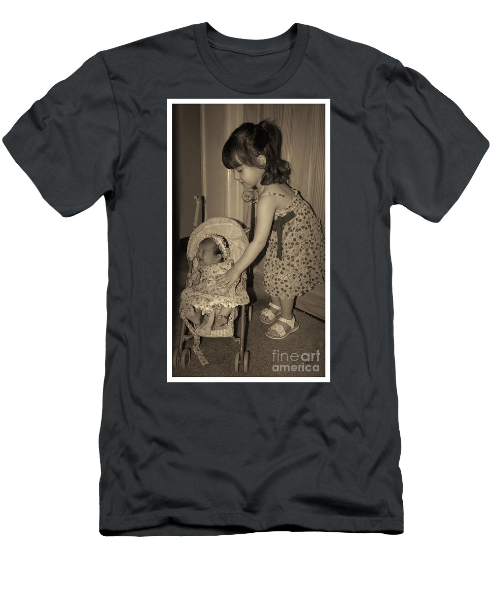 Sisters Men's T-Shirt (Athletic Fit) featuring the photograph Little Mommy by Claudia Ellis