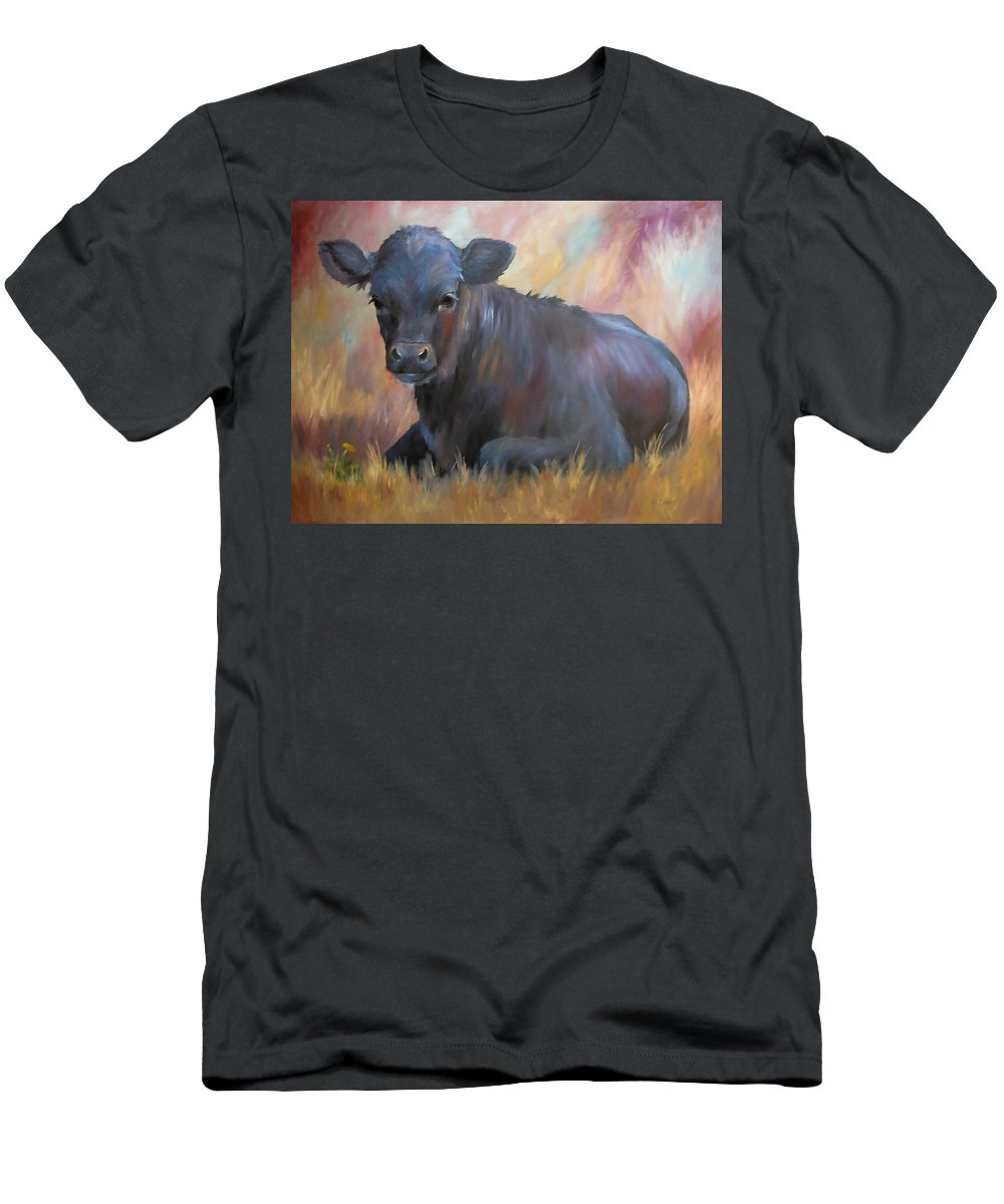 Calf Men's T-Shirt (Athletic Fit) featuring the painting Little Moo Angus Calf Painting Southwest Art by Kim Corpany