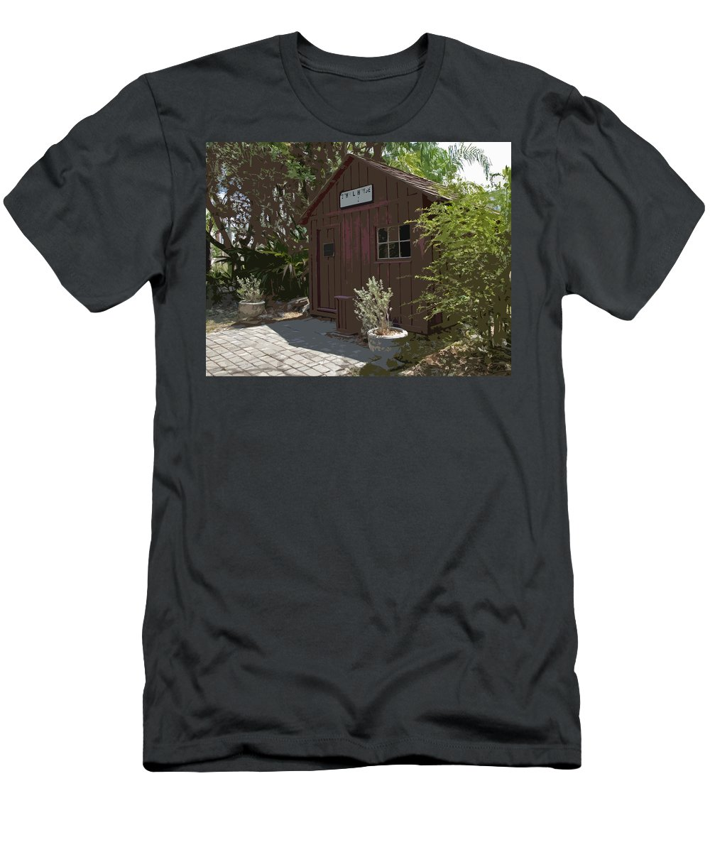 Little Men's T-Shirt (Athletic Fit) featuring the painting Little Red Schoolhouse Two by Allan Hughes