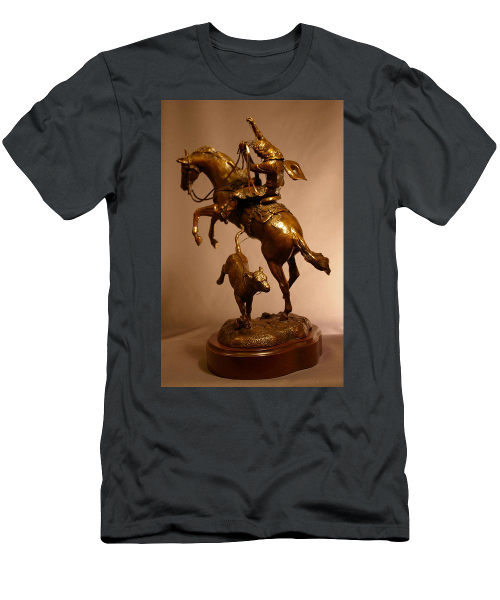 Bronze Men's T-Shirt (Athletic Fit) featuring the sculpture Little Stinker Bronze Horse Western Sculpture by Kim Corpany
