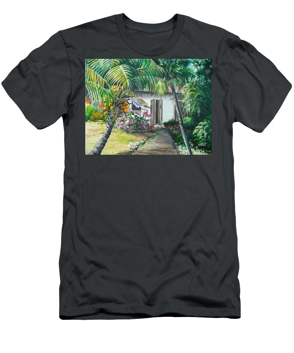 Caribbean Painting Typical Country House In Trinidad And The Islands With Coconut Tree Tropical Painting Men's T-Shirt (Athletic Fit) featuring the painting Little West Indian House 2...sold by Karin Dawn Kelshall- Best