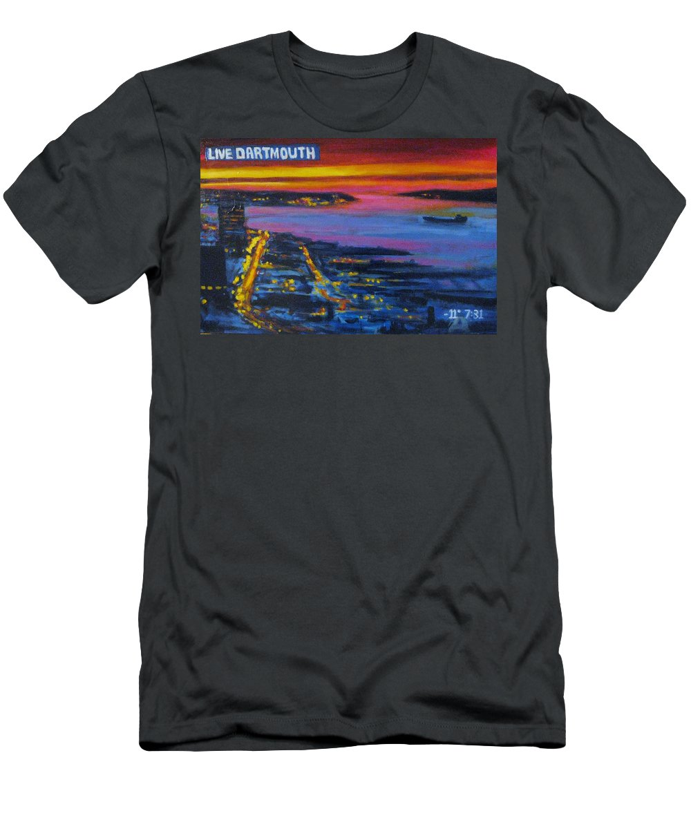 Night Scenes Men's T-Shirt (Athletic Fit) featuring the painting Live Eye Over Dartmouth Ns by John Malone