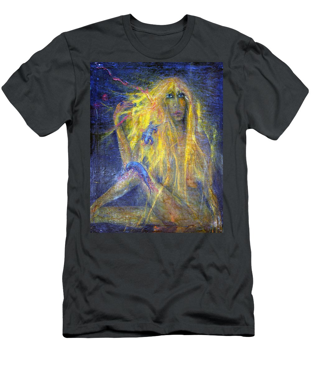 Imagination Men's T-Shirt (Athletic Fit) featuring the painting Lizard by Wojtek Kowalski