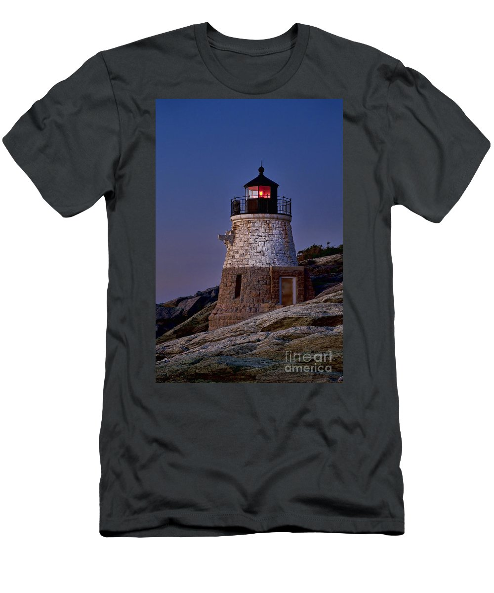 Castle Hill Lighthouse Men's T-Shirt (Athletic Fit) featuring the photograph Llighthouse by John Greim
