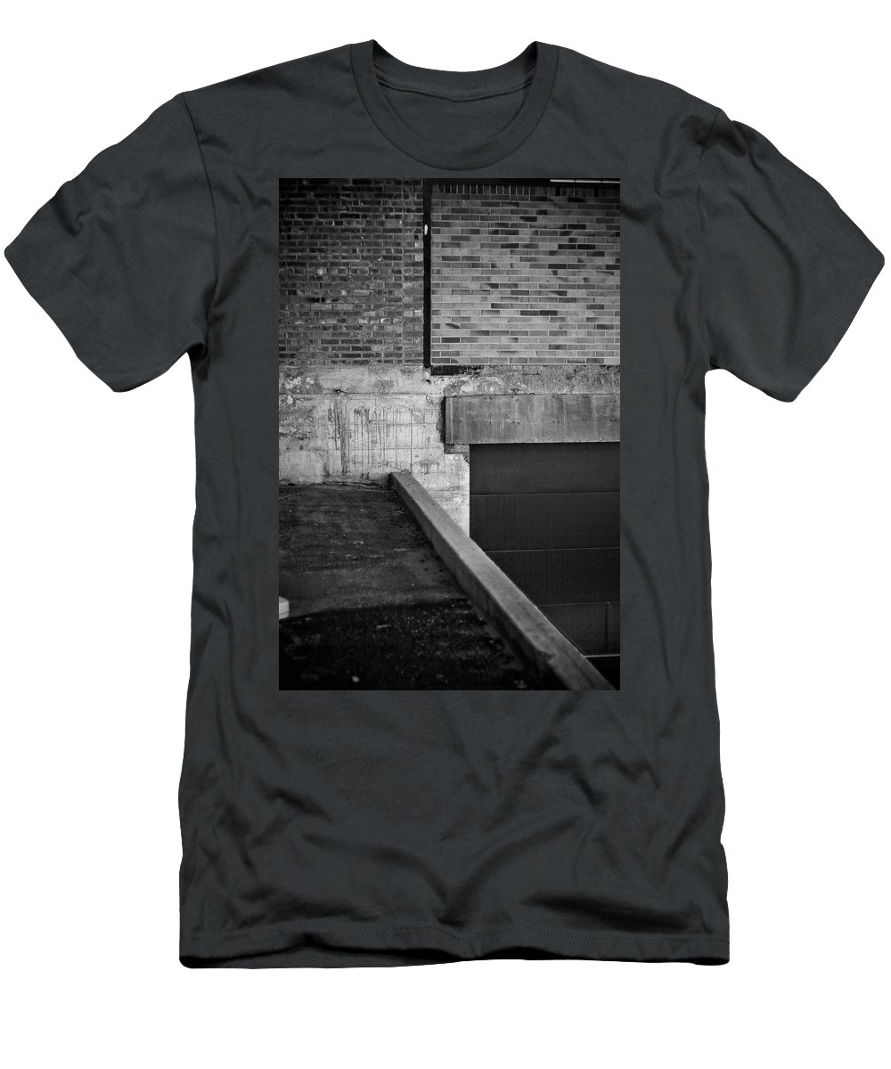 Black And White Photograph Men's T-Shirt (Athletic Fit) featuring the photograph Load Ing Dock by Mike Oistad