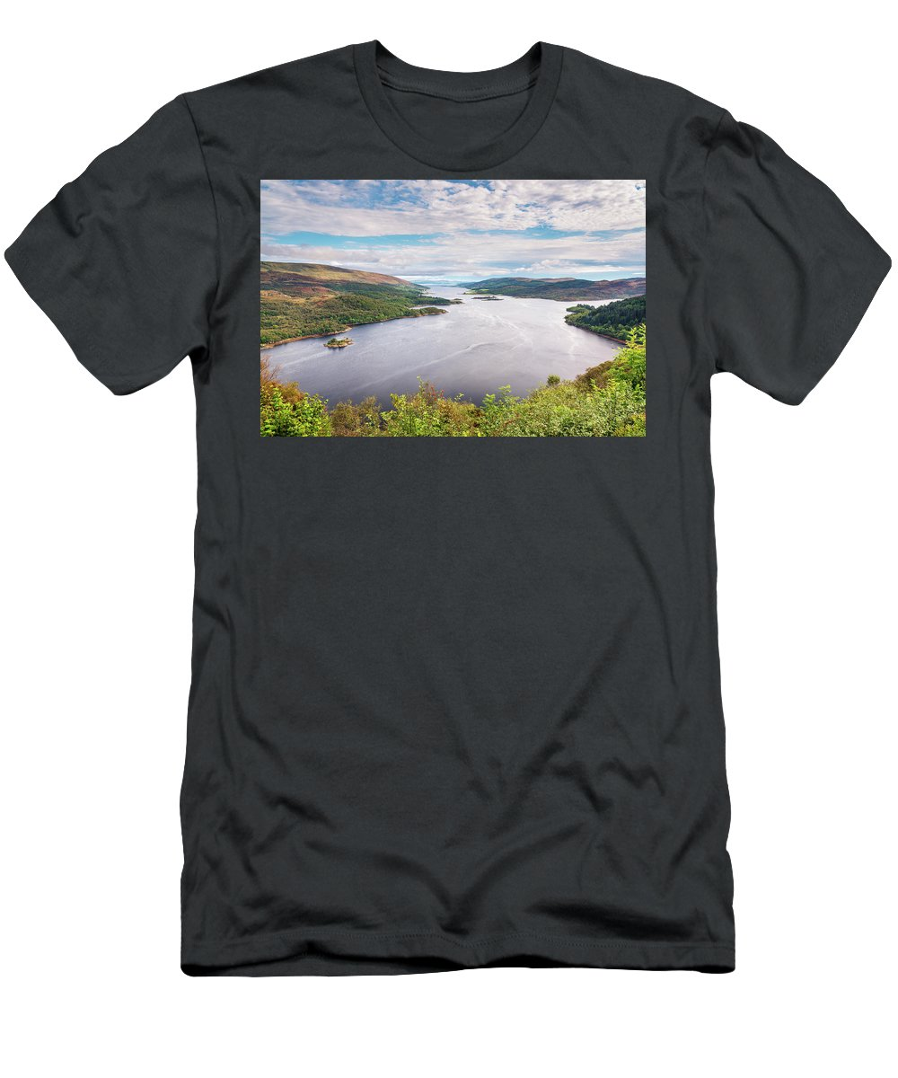 Argyll Men's T-Shirt (Athletic Fit) featuring the photograph Loch Riddon And Isle Of Bute by David Head