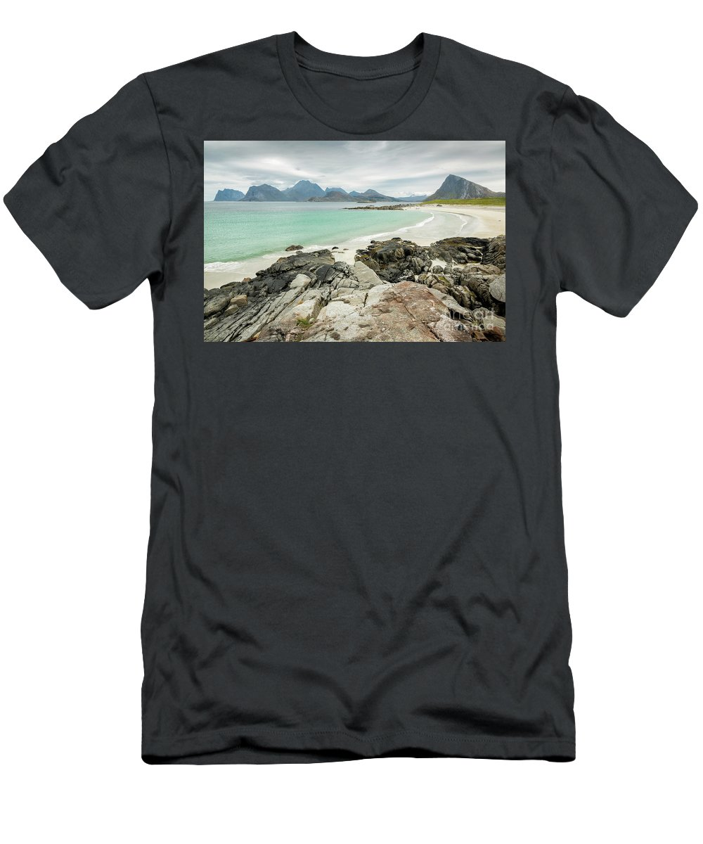 Norway Men's T-Shirt (Athletic Fit) featuring the photograph Lofoten Island Beach Scene by Timothy Hacker