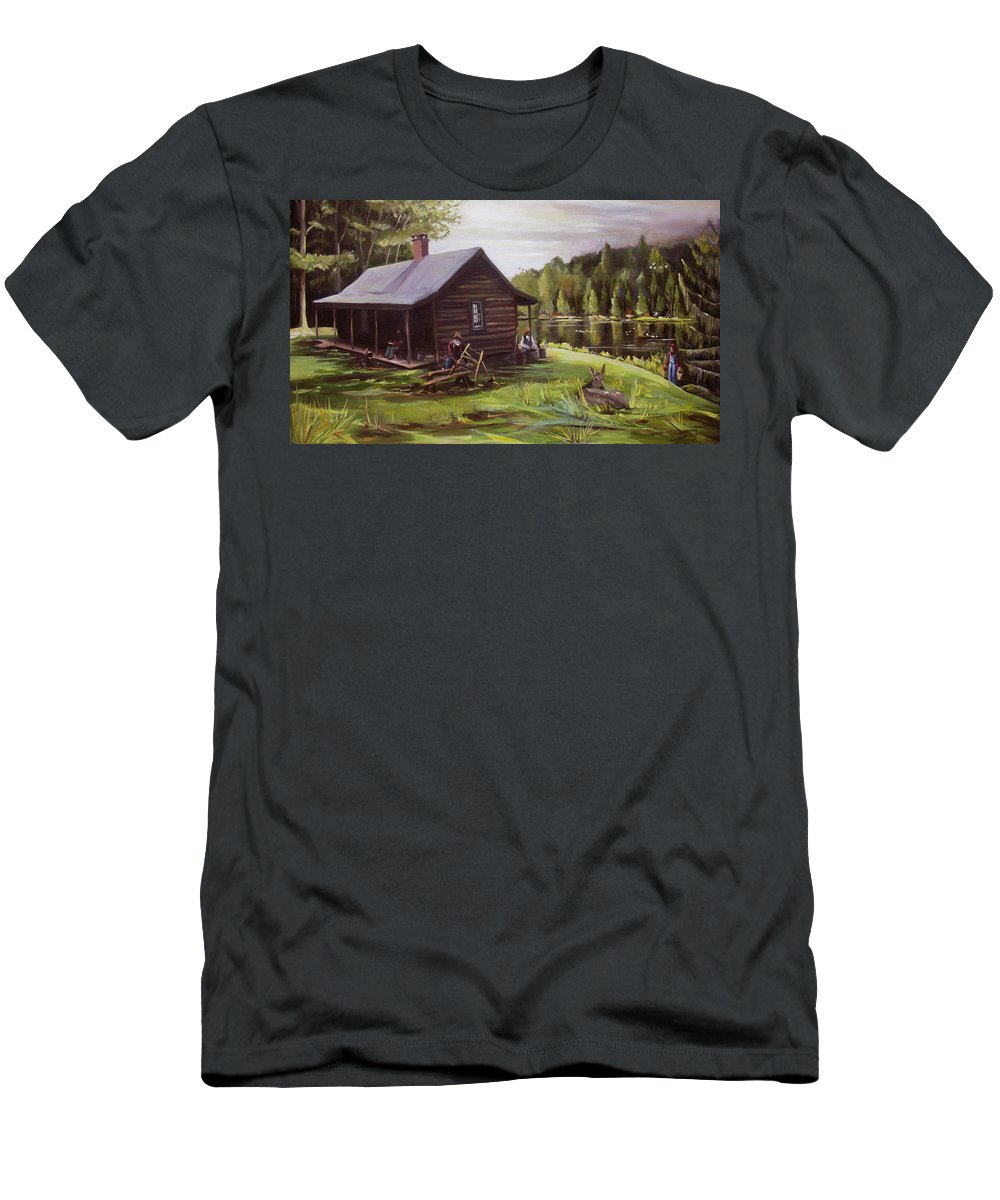Log Cabin T-Shirt featuring the painting Log Cabin by the Lake by Nancy Griswold