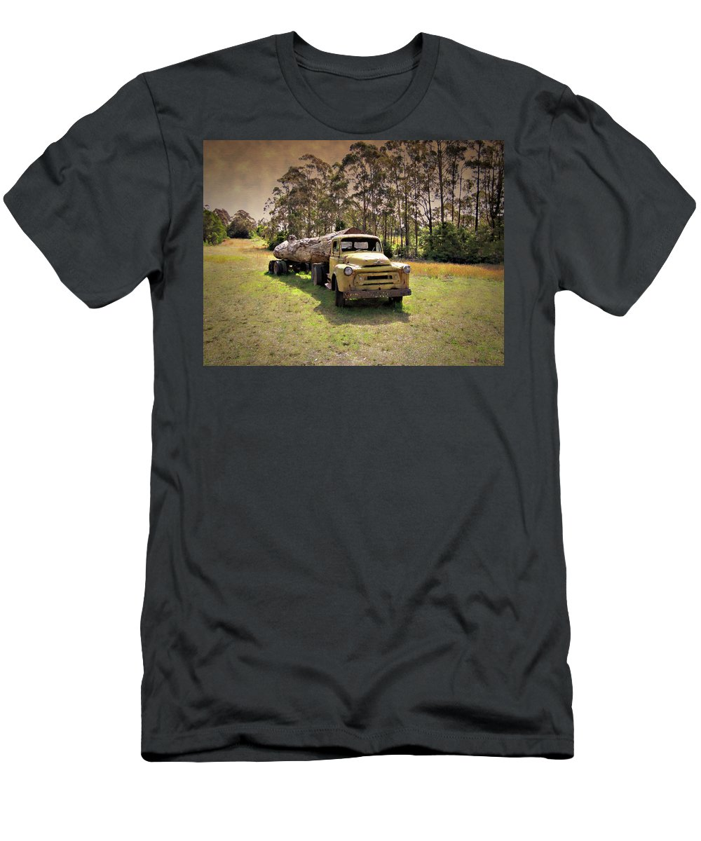 Old Men's T-Shirt (Athletic Fit) featuring the photograph Log Mover by Douglas Barnard