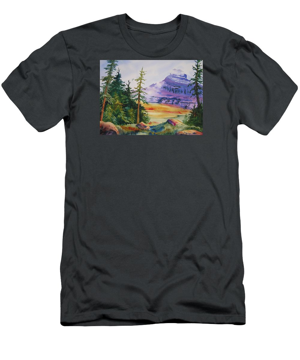 Landscape Men's T-Shirt (Athletic Fit) featuring the painting Logan Pass by Karen Stark
