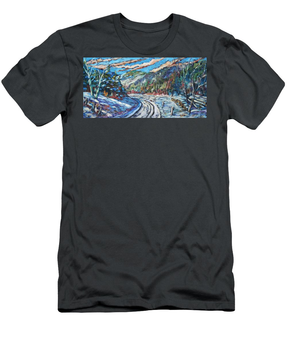 Loggers Men's T-Shirt (Athletic Fit) featuring the painting Loggers Road by Richard T Pranke