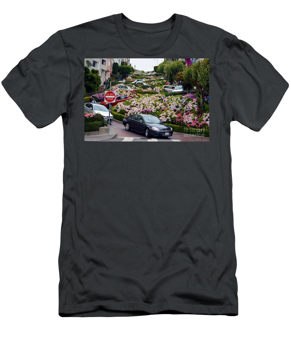 Lombard Street Men's T-Shirt (Athletic Fit) featuring the photograph Lombard Street by Tommy Anderson
